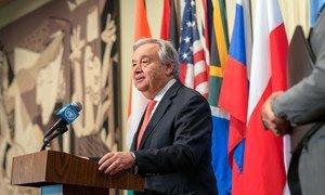 El Secretario General, António Guterres, durante una comparecencia en la sede de la ONU en Nueva York.