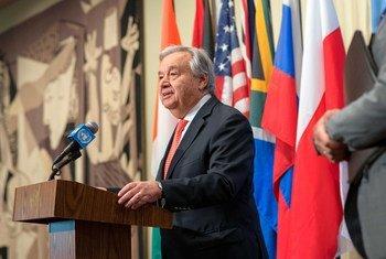 2019年8月1日,联合国秘书长古特雷斯在纽约总部向记者发表谈话。