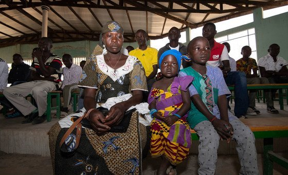 Twenty-nine-year-old Wala Matari, a former terrorist hostage, attends church with her children in the village of Zamai  in the Far North region of Cameroon.