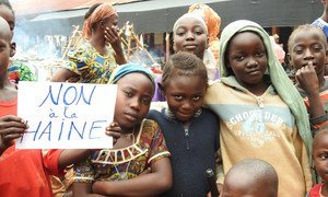 """""""No to hate"""". A group of people advocate against discrimination based on ethnicity and religion in the Central African Republic (file)"""