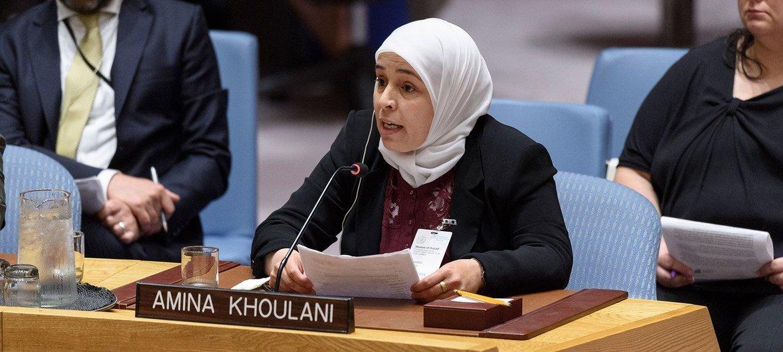 """Amina Khoulani, membro fundadora da """"Families for Freedom"""", discursa na reunião do Conselho de Segurança sobre a situação na Síria."""
