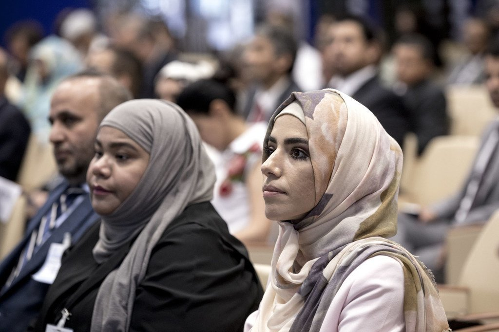 2019年,在粮农组织总部罗马参加会议的沙特妇女。