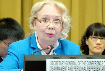 Генеральный директор Отделения ООН в Женеве Татьяна Валовая  выступает  на конференции по разоружению