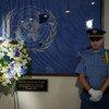 联合国举行敬献花圈仪式,纪念2003年在伊拉克巴格达联合国总部袭击中遇难的联合国工作人员。袭击发生的那一天,即8月19日,被定为世界人道主义日。