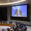 مارتن غريفيثس، المبعوث الخاص للأمين العام إلى اليمن، يقدم إحاطة أمام مجلس الأمن حول الوضع في اليمن، عبر الفيديو من عمان. (20 أغسطس 2019)
