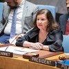 古特雷斯秘书长办公厅主任玛丽亚·路易莎·维奥蒂向安理会会议介绍中东和平与安全面临的挑战。(2019年8月20日)