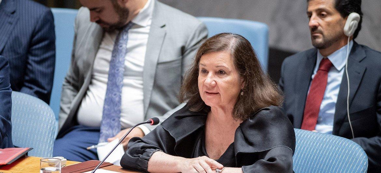 La jefa de Gabinete del Secretario General António Guterres,Maria Luiza Ribeiro Viotti, durante la reunión del Consejo de Seguridad sobre los desafíos para la paz y la seguridad en el Oriente Medio. (20 de agosto de 2019)