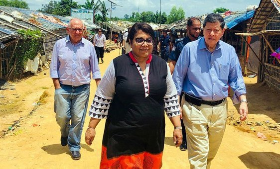 UN independent experts on a fact-finding mission in Myanmar from left: Christopher Sidoti, Radhika Coomaraswamy and Marzuki Darusman, chair. (July 2018).