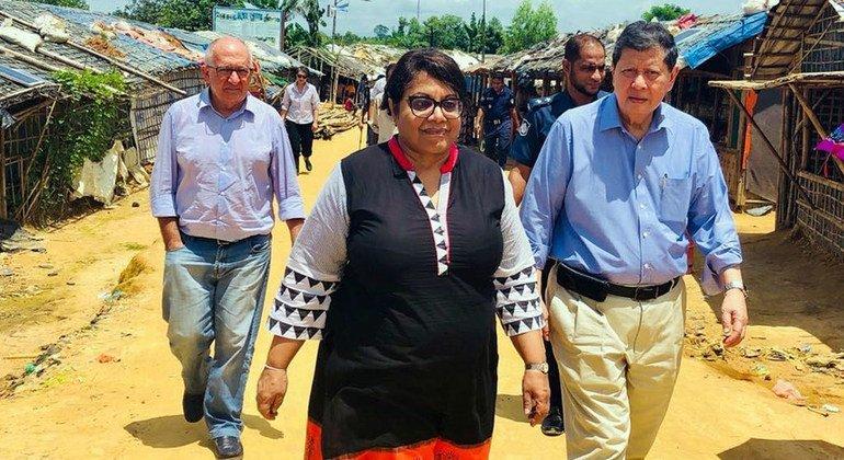 Les membres de la Mission internationale indépendante d'établissement des faits au Myanmar (de gauche à droite): Christopher Sidoti, Radhika Coomaraswamy et Marzuki Darusman (juillet 2018)