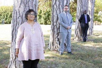 La Commission des Nations Unies sur les droits de l'homme au Soudan du Sud. De gauche à droite : Yasmin Sooka, Andrew Clapham et Barney Afako.