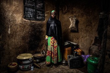 Bintu Mohammed, 13, stands in her home in Banki, northeast Nigeria, on 1 May 2019 after her home village was attacked four years ago and her school was destroyed.