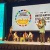 Comunidade indígena em Utah realiza uma cerimônia tradicional na 68ª Conferência da Sociedade Civil da ONU em Salt Lake City.