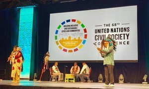 Utah's indigenous Native American community perform a traditional ceremony at the 68th UN Civil Society Conference in Salt Lake City, Utah. (26 August 2019)