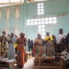 Cameroonians, including Wala Matari (far right,) displaced by terrorist activity in the Lake Chad region attend church in north-east Cameroon.