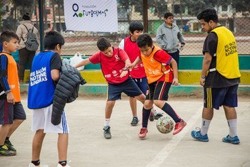 """Peruvian and Venezuelan children have fun during the launch of """"The Ball Has No Flags"""". (August 2019)"""