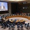 Nickolay Mladenov fala ao Conselho de Seguranla por videoconferência