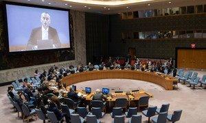 El coordinador especial para el Proceso de Paz en Medio Oriente, Nicolai Mladenov, informa desde Jerusalén al Consejo de Seguridad.