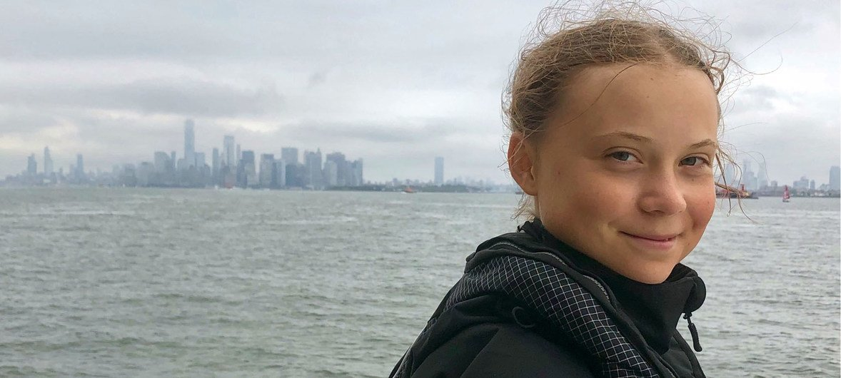 Climate activist, 16-year-old Greta Thurnberg sails into New York Harbour to attend the United Nations Climate Summit in September.