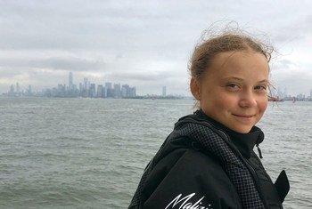 Ativista Greta Thurnberg chega ao porto de Nova Iorque