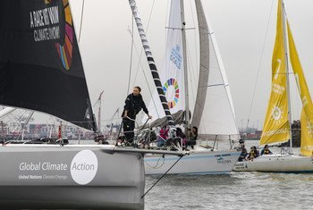 Greta Thunberg, the 16-year-old climate activist from Sweden, sailed into New York Harbor today flanked by a fleet of 17 sailboats representing each of the Sustainable Development Goals on their sails.