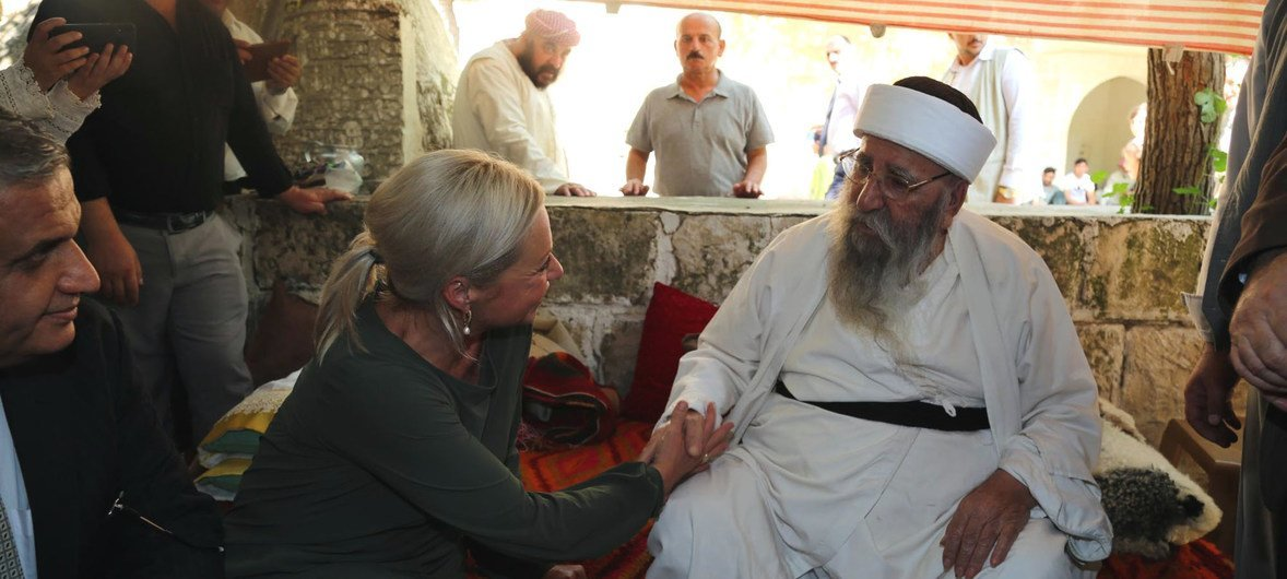 UN Special Representative Hennis-Plasschaert visits Sinjar on the fifth anniversary of the gross atrocities committed by ISIL terrorists against Iraq's Yazidi community. (August 2019)