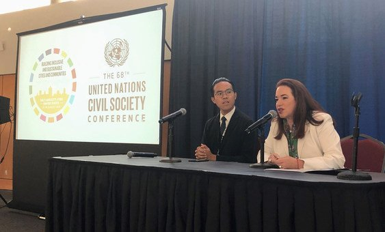 María Fernanda Espinosa (right), President of the 73rd session of the General Assembly, addresses delegates at the 68th UN Civil Society Conference in Salt Lake City, Utah. (28 August 2019)