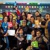 Les participants à un festival d'action pour le développement durable à Bonn, en Allemagne en 2018.
