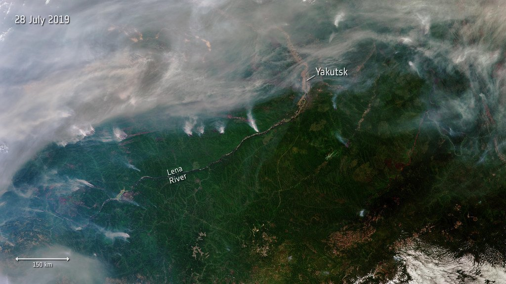 西伯利亚爆发了数百场野火,2019年7月28日从太空拍摄的这张照片中可以看到其中的一些。