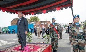 Secretary-General António Guterres review of the troops upon arrival at MONUSCO Lava Site in Goma