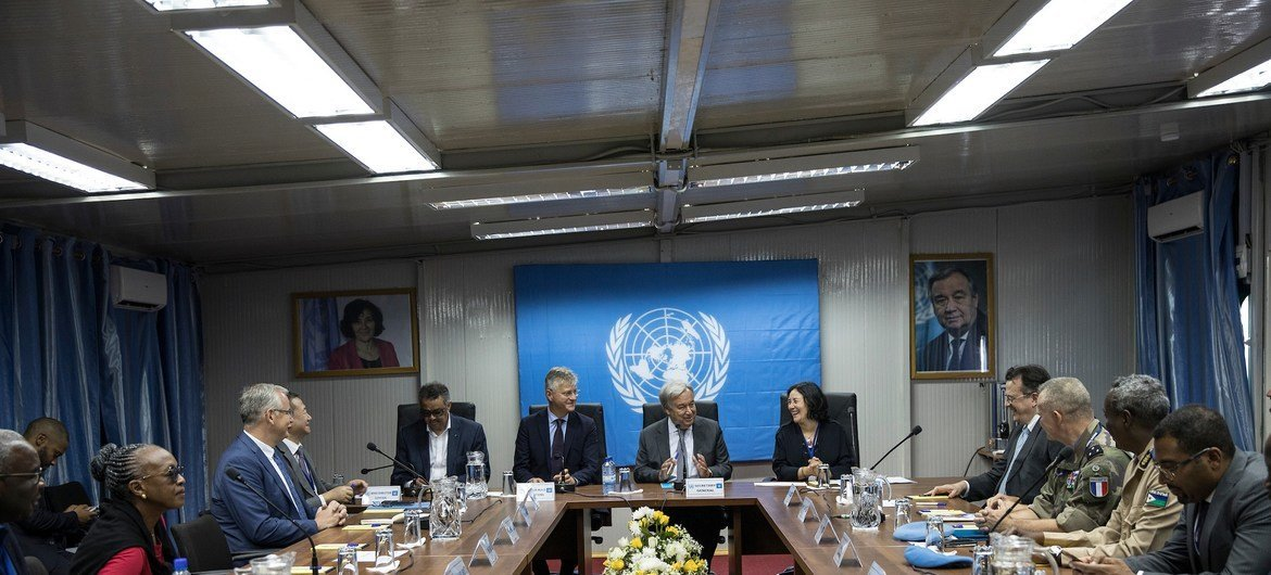 Secretary-General António Guterres briefing by MONUSCO leadership with SRSG Leila Zerrougui (Right) and USG Jean-Pierre Lacroix (left) and leadership
