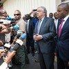 Le Secrétaire général des Nations Unies, António Guterres, s'exprime devant la presse à son arrivée à l'aéroport de Goma, en RDC, le 31 août 2019