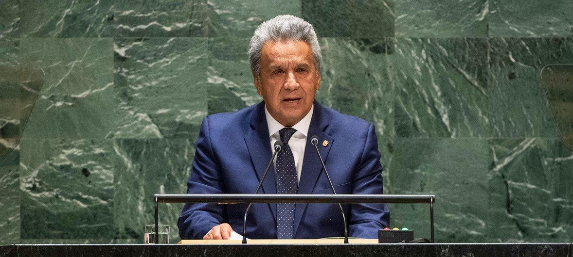 Lenin Moreno Garcés, presidente de la República del Ecuador, se dirige a la 74ª sesión del Debate General de la Asamblea General de las Naciones Unidas