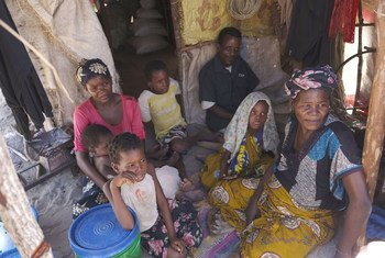 Família deslocada em Palma, província de Cabo Delgado, Moçambique