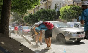UNICEF youth network volunteers clean up  Mar Mikhael after the port explosions..