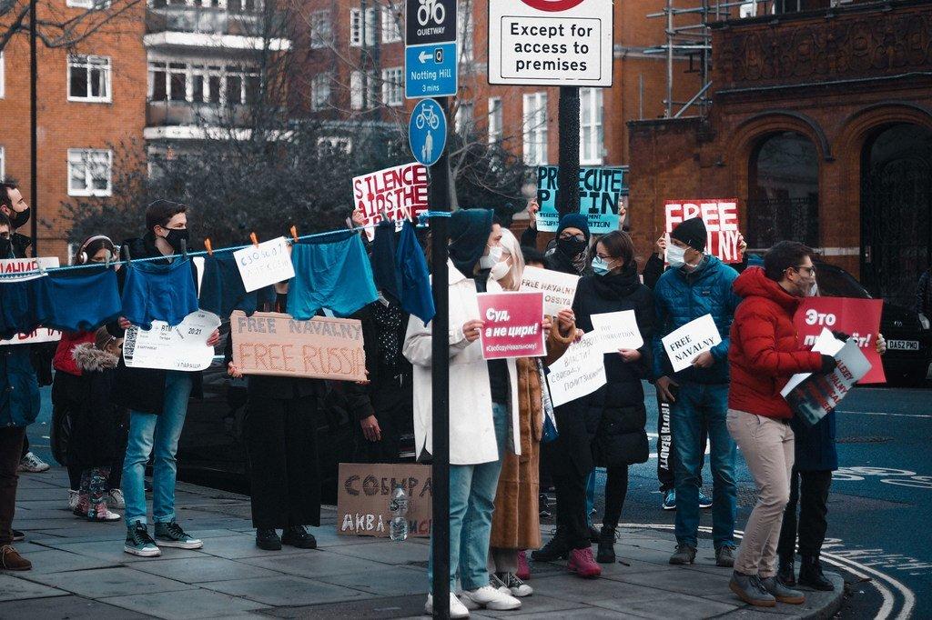Une manifestation de soutien à Alexei Navalny à Londres début 2021.
