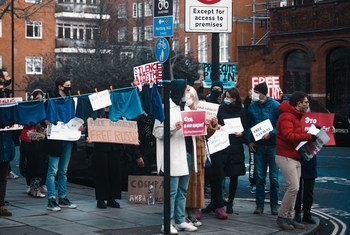A demonstration in support of Aleksei Navalny takes place in London, UK in early 2021.