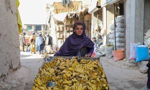 A 12-year-old boy, who does not go to school, sells bananas in Uruzgan Province in western Afghanistan.