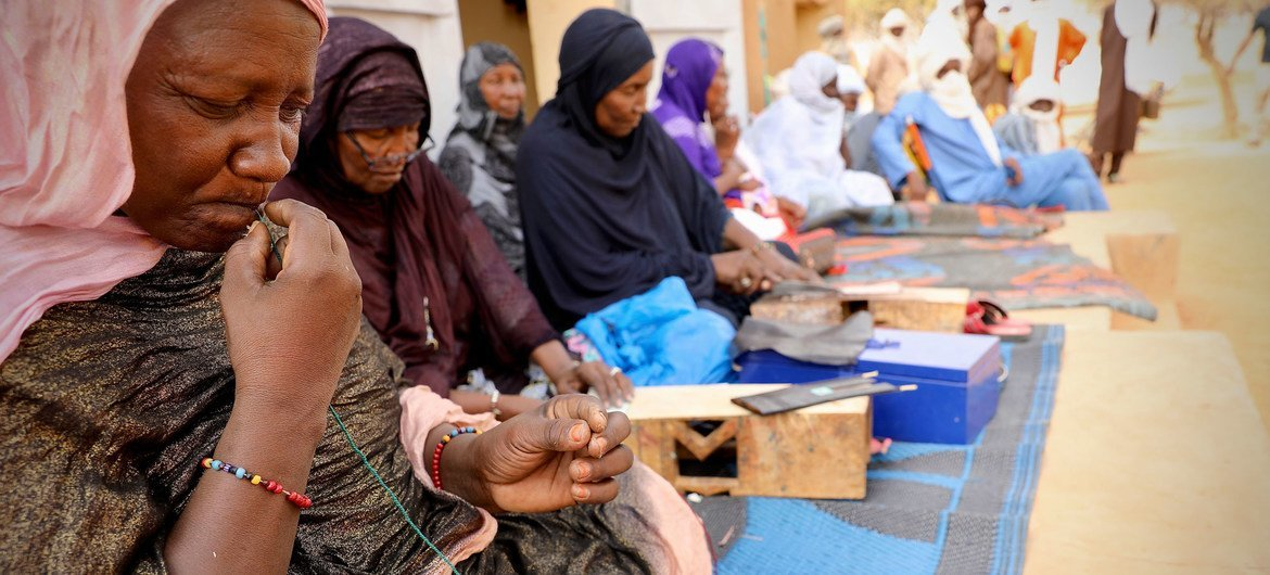 Tuareg women artisans produce leather goods as part of a project supported by the UN peacekeeping mission in Mali, MINUSMA.
