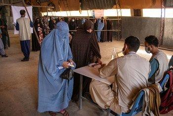Pessoas fazem registro para receber comida em Herat, Afeganistão.