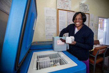 A nurse stores vaccines in a dedicated solar-powered refrigerator at the Budiriro Clinic in Zimbabwe.