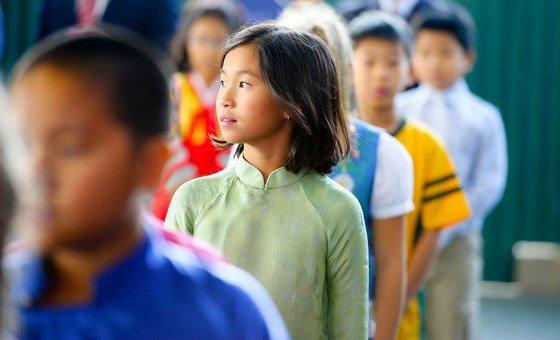 越南河内一所学校的学生。