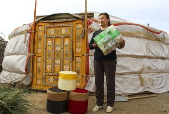 In Mongolia, plastic bottles, which otherwise would end up in landfill sites, are being recycled into footstools.