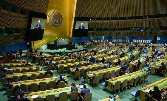 Vista panorámica de la Asamblea General de la ONU.