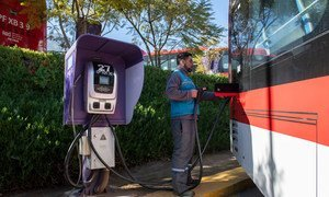An electric bus charging terminal in Chile where each bus takes 2.5 hours to fully charge.