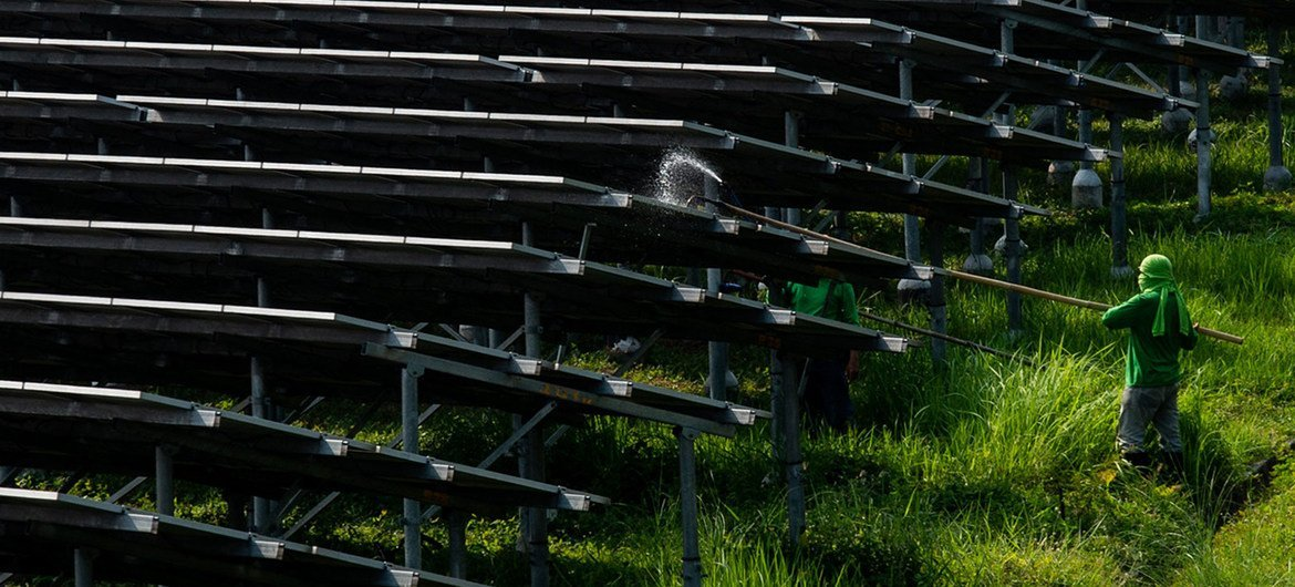 Workers clean solar panels at a solar farm in Manila, Philippines.