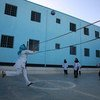 Girls play volleyball at a school in Herat, Afghanistan, in 2016.