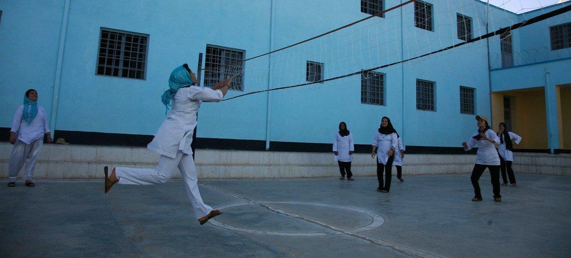 2016年,阿富汗赫拉特的一所学校里,女孩们在打排球。