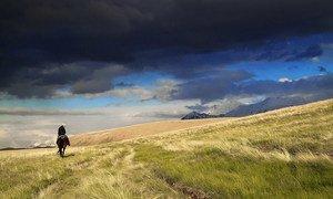 Глава ООН призывает остановить разрушительную войну с природой. На фото - всадник в горах Кыргызстана