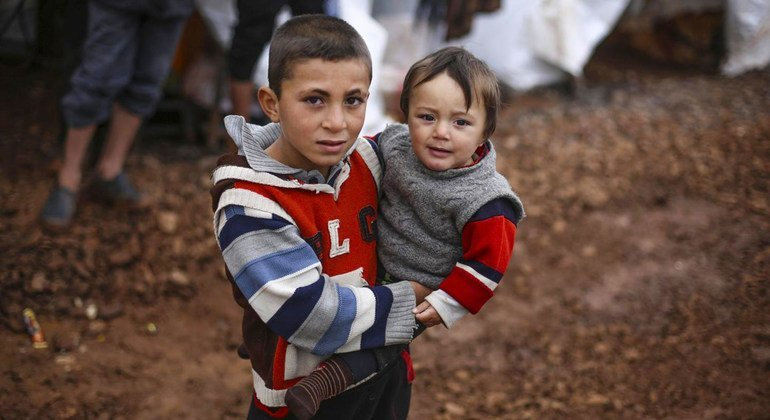 Displaced children living in an informal settlement in northwest Syria.