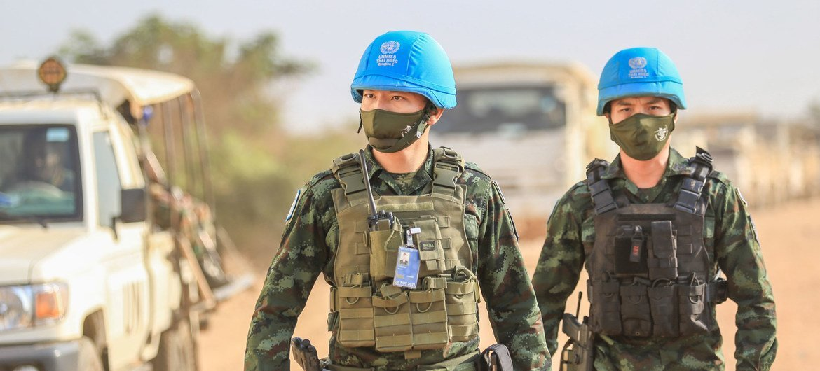Thai engineers serving with UNMISS repair and rehabilitate existing infrastructure such as roads and bridges, among other duties. Pictured here, Lt. Col. Kaisin Sasunee (foreground), the current Commander of the Thai Horizontal Military Engineering Company (HMEC), is on patrol.